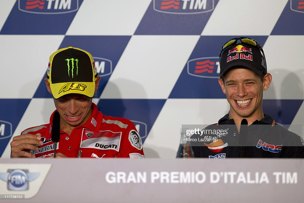Casey Stoner (R) of Australia and Repsol Honda Team smiles during the press conference pre-event of MotoGp of Italy at Mugello Circuit on June 30, 2011 in Scarperia near Florence, Italy.