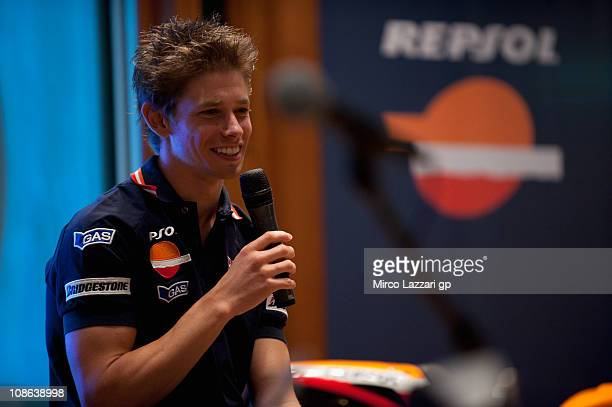 Casey Stoner of Australia and Repsol Honda Team speaks during the presentation of the Repsol Honda Team in Pan Pacific Hotel on January 31 2011 in...