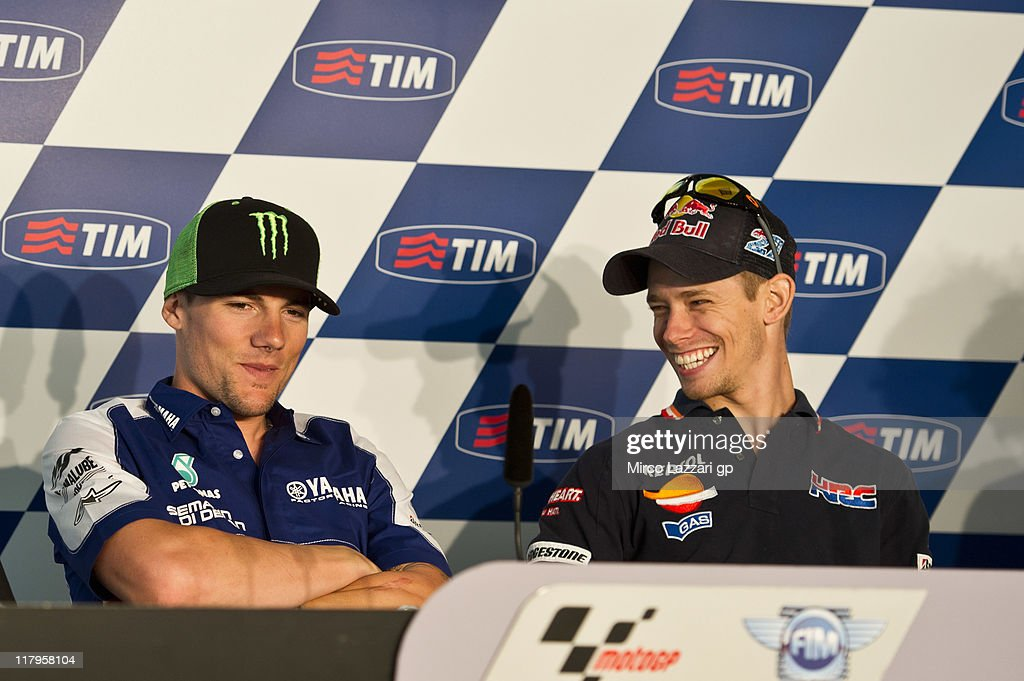 Casey Stoner of Australia and Repsol Honda Team (R) with Ben Spies of USA and Yamaha Factory Racing during the press conference at the end of the qualifying practice of the MotoGP of Italy at Mugello Circuit on July 2, 2011 in Scarperia near Florence, Italy.