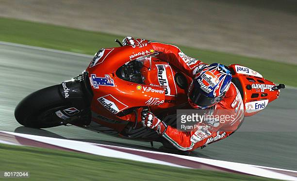 Casey Stoner of Australia and the Ducati Marlboro Team in action during practice for the Motorcycle Grand Prix of Qatar, round one of the MotoGP...