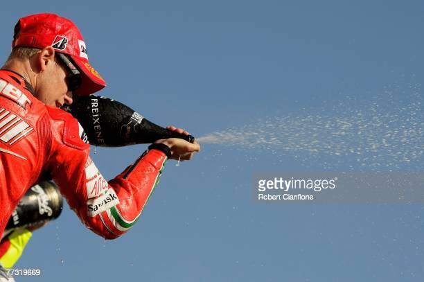 Casey Stoner of Australia and the Ducati Team celebrates on the podium after winning the 2007 Australian Motorcycle Grand Prix held at Phillip Island...