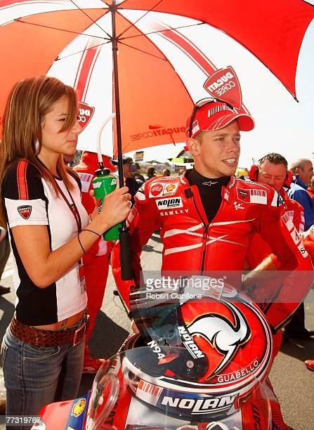 Casey Stoner of Australia and the Ducati Team is seen on the grid with his wife Adriana prior to the start of the 2007 Australian Motorcycle Grand...