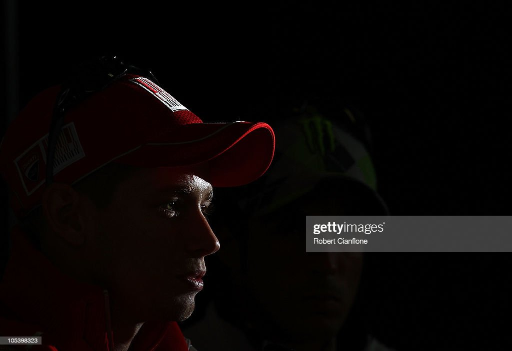 Casey Stoner of Australia and the Ducati team talks to the media at a press conference prior to the Australian MotoGP, which is round 16 of the MotoGP World Championship, at Phillip Island Grand Prix Circuit on October 14, 2010 in Phillip Island, Australia.