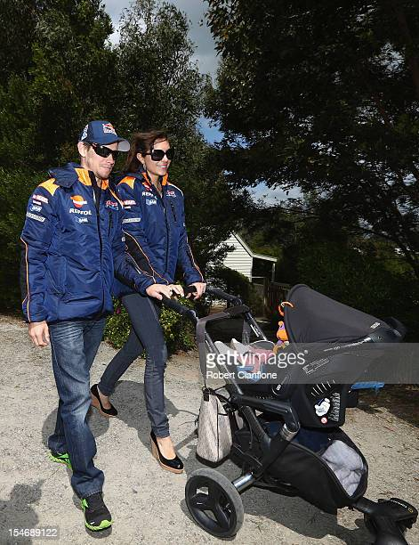 Casey Stoner of Australia and the Repsol Honda Team arrives with his wife Adriana and baby daughter Alessandra Maria at the Rhyll Trout and Bush...