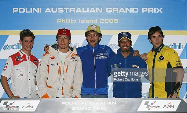Casey Stoner of Australia Nicky Hayden of the USA Valentino Rossi of Italy Marco Melandri of Italy and Chris Vermeulen of Australia pose during a...