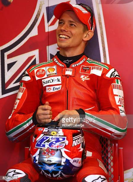 Casey Stoner of Australia rider of the Ducati Marlboro gets ready for practice for the Moto GP Red Bull U S Grand Prix at the Mazda Raceway Laguna...