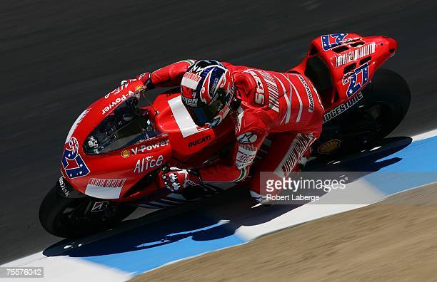 Casey Stoner of Australia rides the Ducati during practice for the 2007 Red Bull US Grand Prix part of the MotoGP World Championships at the Mazda...