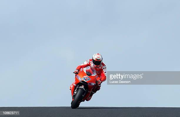 Casey Stoner of Australia rides the Ducati Marlboro Team during the Australian MotoGP which is round 16 of the MotoGP World Championship at Phillip...