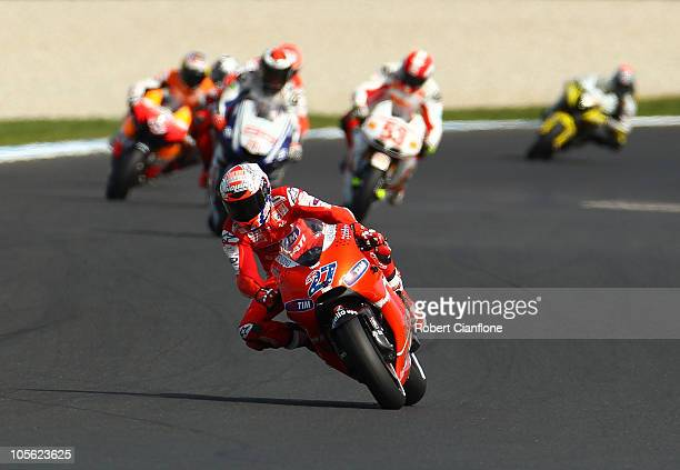 Casey Stoner of Australia rides the Ducati MarlboroTeam Ducati during the Australian MotoGP which is round 16 of the MotoGP World Championship at...