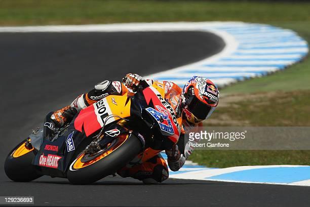 Casey Stoner of Australia rides the Repsol Honda Team Honda during practice for the Australian MotoGP which is round 16 of the MotoGP World...