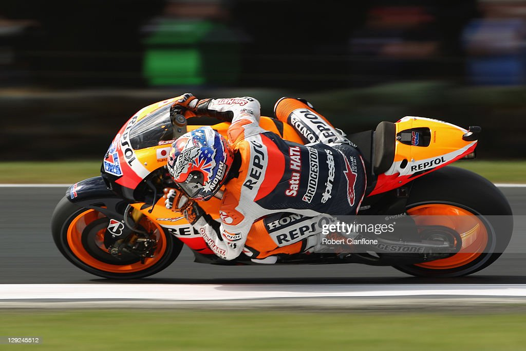 Casey Stoner of Australia rides the #27 Repsol Honda Team Honda during qualifying for the Australian MotoGP, which is round 16 of the MotoGP World Championship, at Phillip Island Grand Prix Circuit on October 15, 2011 in Phillip Island, Australia.