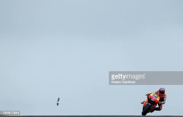 Casey Stoner of Australia rides the Repsol Honda Team Honda during qualifying for the Australian MotoGP which is round 17 of the MotoGP World...