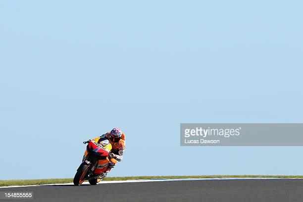 Casey Stoner of Australia riding the Repsol Honda Team Honda rides during the Australian MotoGP which is round 17 of the MotoGP World Championship at...