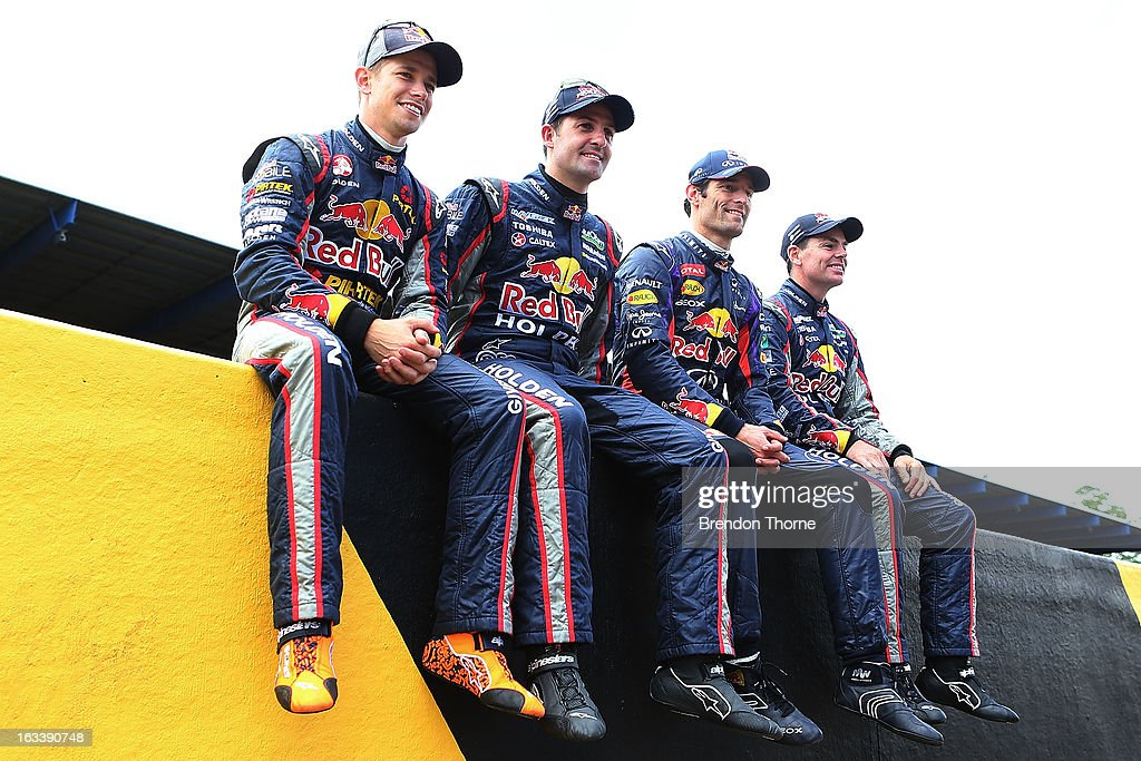 Casey Stoner of Red Bull Pirtek Holden, Jamie Whincup of Red Bull Racing Australia Holden, Mark Webber of Australia and Infiniti Red Bull Racing and Craig Lowndes of Red Bull Racing Australia Holden sit on top of pitwall during the Top Gear Festival at Sydney Motorsport Park on March 9, 2013 in Sydney, Australia.