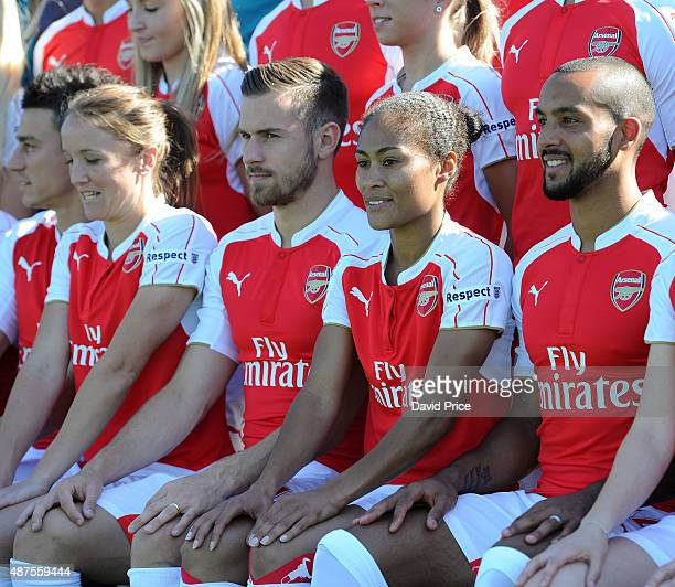 Casey Stoney Aaron Ramsey Rachel Yankey and Theo Walcott of Arsenal during the Arsenal 1st Team Group Photograph at London Colney on September 10...