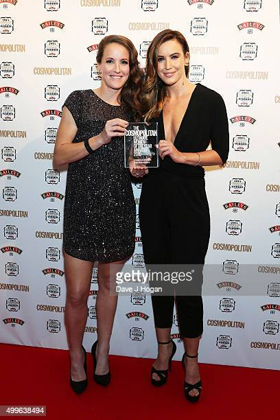 Casey Stoney and Charlie Webster poses for a photo with the award for Ultimate Sports Personality during the Cosmopolitan Ultimate Women Of The Year...