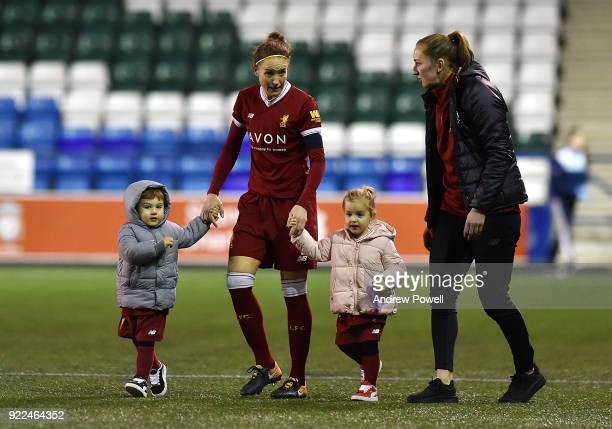 Casey Stoney and Siobhan Chamberlain of Liverpool Ladies with Casey's children at the end of the FA WSL match between Liverpool Ladies and Sunderland...