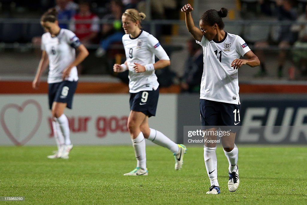 Casey Stoney, Ellen White and Rachel Yankey of England look dejected after the second goal of Spain during the UEFA Women's EURO 2013 Group C match between England and Spain at Linkoping Arena on July 12, 2013 in Linkoping, Sweden.