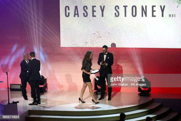 Casey Stoney is presented with the PFA Special Achievement Award by PFA chairman Ben Purkiss during the 2018 PFA Awards at the Grosvenor House Hotel...