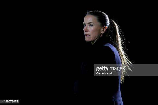 Casey Stoney manager of Manchester United ahead of the FA WSL Continental Tyres Cup semi final between Arsenal Women and Manchester United Women at...