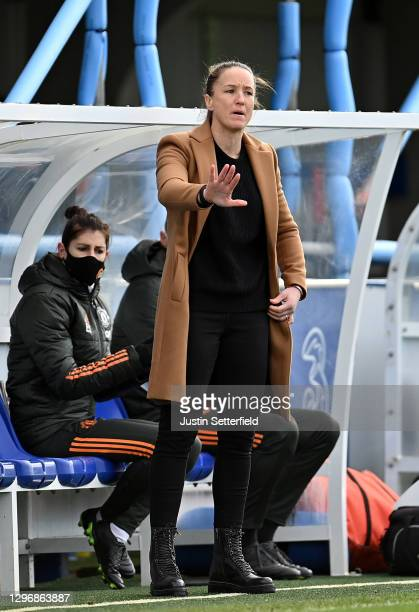 Casey Stoney, Manager of Manchester United gives instructions to their side during the Barclays FA Women's Super League match between Chelsea Women...