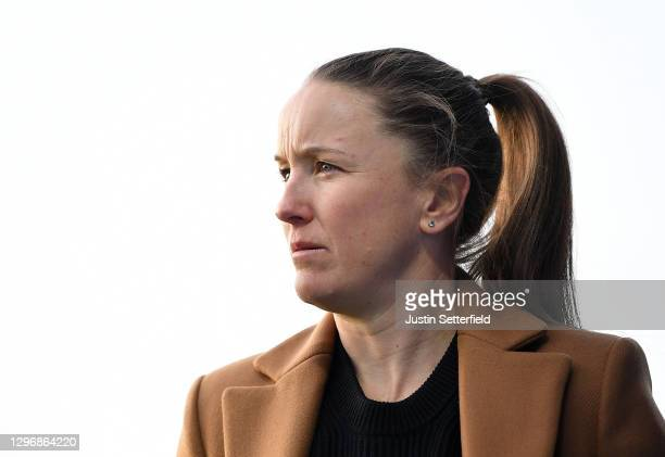 Casey Stoney, manager of Manchester United looks on during the Barclays FA Women's Super League match between Chelsea Women and Manchester United...