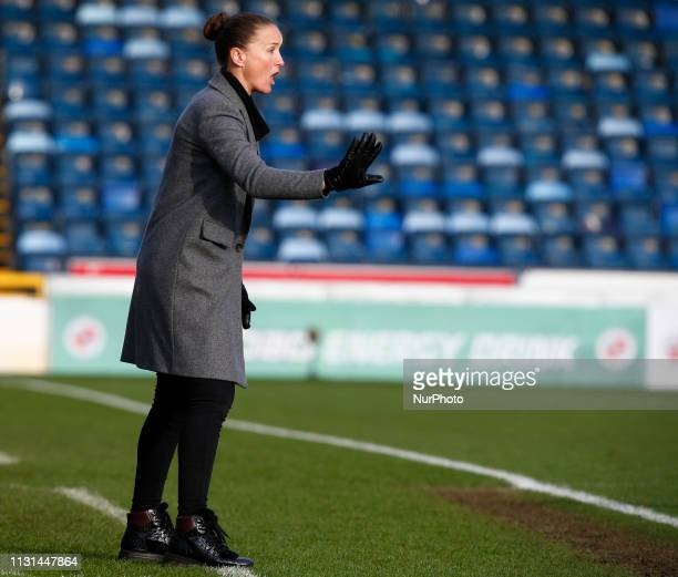 Casey Stoney manager of Manchester United Women during The SSE Womens FA Cup Quarter Final match between Reading FC Women and Manchester United Women...