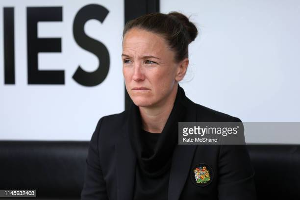 Casey Stoney Manager of Manchester United Women looks on ahead of the FA Women's Championship match between Millwall Lionesses and Manchester United...