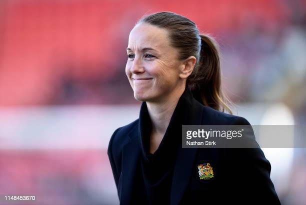Casey Stoney manager of Manchester United Women looks on during the Women's Super League match between Manchester United Women and Lewes Women at...