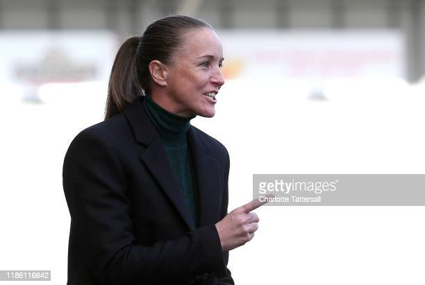 Casey Stoney Manager of Manchester United Women looks on during the Barclays FA Women's Super League match between Manchester United and Reading at...