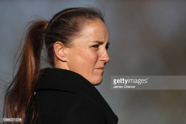Casey Stoney Manager of Manchester United Women looks on prior to the FA Women's Championship match between Crystal Palace and Manchester United at...
