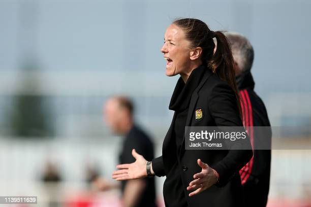 Casey Stoney Manager of Manchester United Women reacts during the WSL 2 match between Tottenham Hotspur Women and Manchester United Women at The...