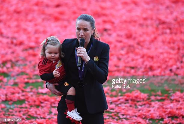 Casey Stoney manager of Manchester United Women thanks the fans after the Women's Super League match between Manchester United Women and Lewes Women...