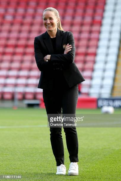 Casey Stoney Manager of Manchester Untied Women takes a look around the stadium prior to the FA Women's Continental League Cup match between...
