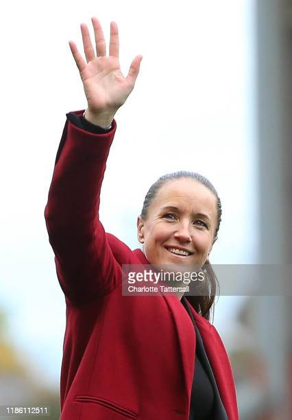 Casey Stoney Manager of Manchester Untied Women waves to fans after the FA Women's Continental League Cup match between Manchester United Women and...