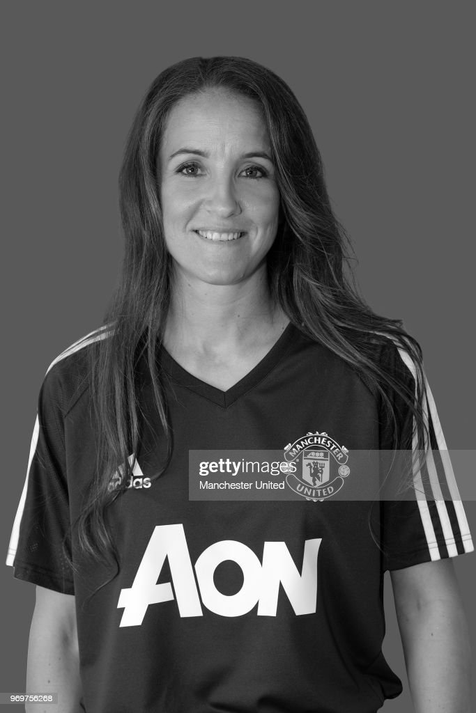 Casey Stoney MBE poses after being appointed Head Coach of the Manchester United Women's team at Aon Training Complex on June 8, 2018 in Manchester, England.