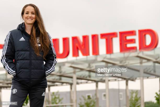 Casey Stoney MBE poses after being appointed Head Coach of the Manchester United Women's team at Aon Training Complex on June 8 2018 in Manchester...