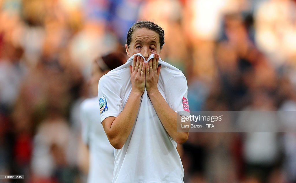 Casey Stoney of England looks dejected after loosing the FIFA Women's World Cup 2011 Quarter Final match between England and France at the FIFA Women's World Cup Stadium Leverkusen on July 9, 2011 in Leverkusen, Germany.