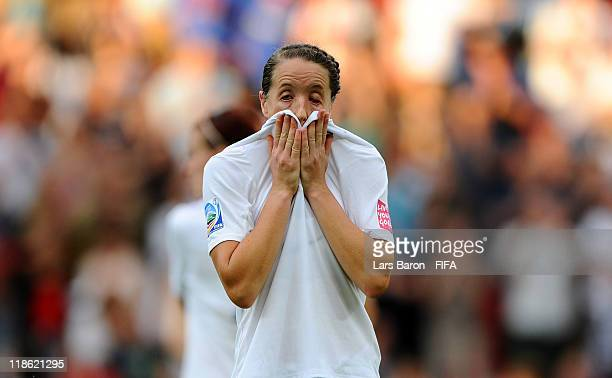 Casey Stoney of England looks dejected after loosing the FIFA Women's World Cup 2011 Quarter Final match between England and France at the FIFA...