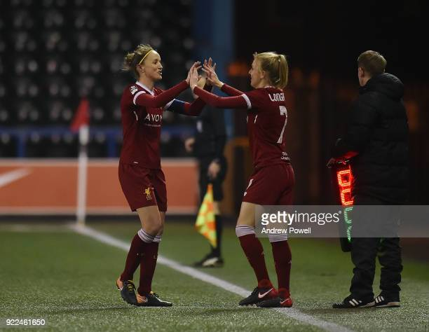 Casey Stoney of Liverpool Ladies comes off for Katie Longhurst during the FA WSL match between Liverpool Ladies and Sunderland Ladies at Select...