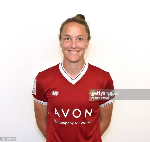 Casey Stoney of Liverpool Ladies during a Photocall at Select Security Stadium on June 2 2017 in Widnes England
