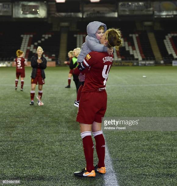Casey Stoney of Liverpool Ladies embracing her child at the end the FA WSL match between Liverpool Ladies and Sunderland Ladies at Select Security...