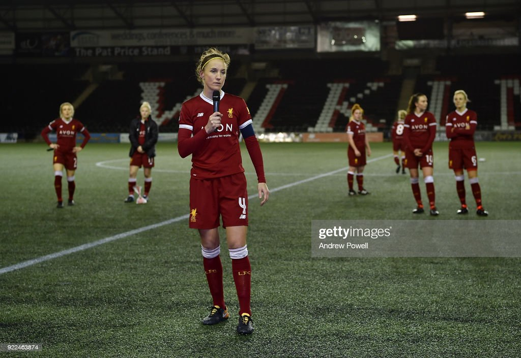 Casey Stoney of Liverpool Ladies make a speach at th end the FA WSL match between Liverpool Ladies and Sunderland Ladies at Select Security Stadium on February 21, 2018 in Widnes, England.