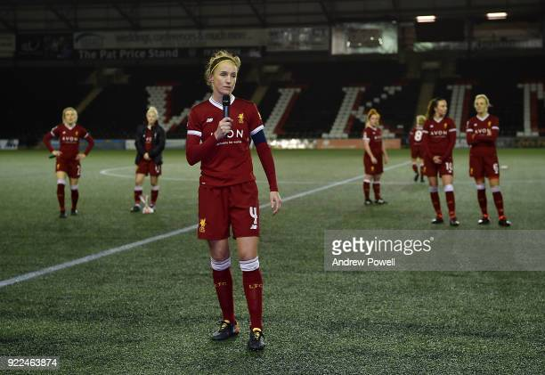 Casey Stoney of Liverpool Ladies make a speach at th end the FA WSL match between Liverpool Ladies and Sunderland Ladies at Select Security Stadium...
