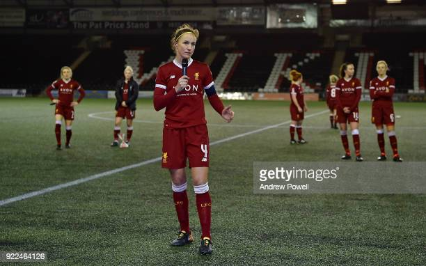 Casey Stoney of Liverpool Ladies making a speach at the end the FA WSL match between Liverpool Ladies and Sunderland Ladies at Select Security...