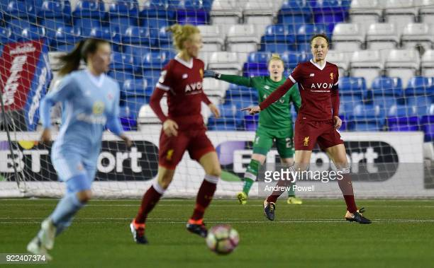 Casey Stoney of Liverpool Ladies reacts during the FA WSL match between Liverpool Ladies and Sunderland Ladies at Select Security Stadium on February...