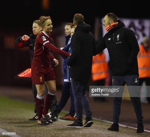 Casey Stoney of Liverpool Ladies shakes hands with Scott Rodgers manager of Liverpool Ladies during the FA WSL match between Liverpool Ladies and...