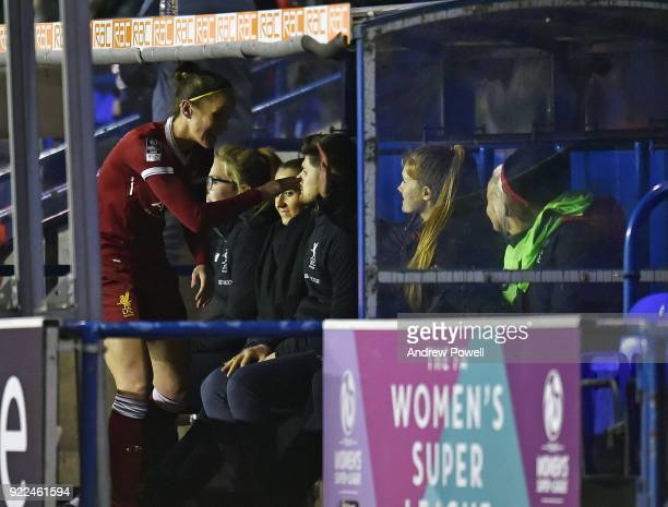 Casey Stoney of Liverpool Ladies shakes hands with team mates on the bench during the FA WSL match between Liverpool Ladies and Sunderland Ladies at...