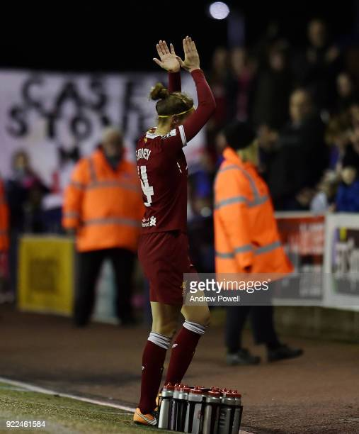 Casey Stoney of Liverpool Ladies shows her appreciation to the fans at the end of during the FA WSL match between Liverpool Ladies and Sunderland...