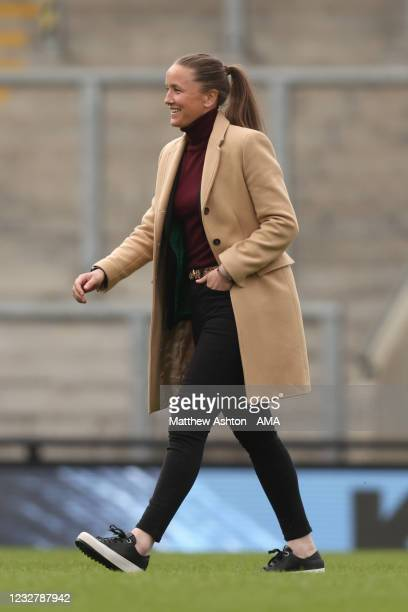 Casey Stoney the head coach / manager of Manchester United Women during the Barclays FA Women's Super League match between Manchester United Women...